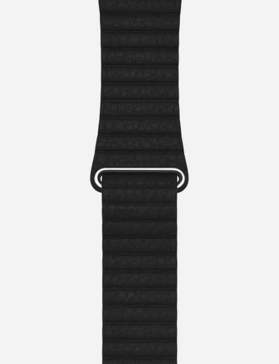 Black WsC Leather Loop Apple Watch Strap Without Face