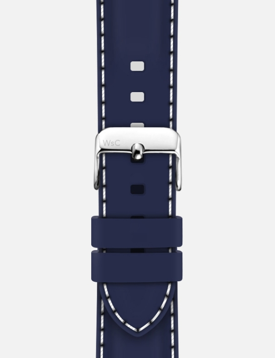 Blue White Stitch WsC Nautilus Apple Watch Strap