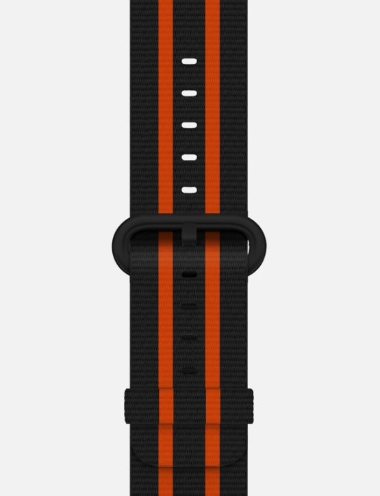Black Orange Stripe Woven Nylon Apple Watch Strap