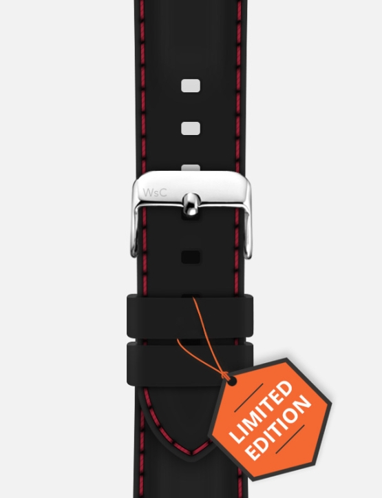 Black Red WsC Nautilus Apple Watch Strap Limited Edition Logo