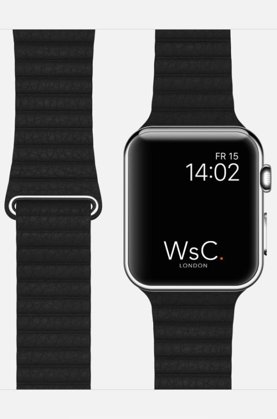 Black WsC Leather Loop Apple Strap
