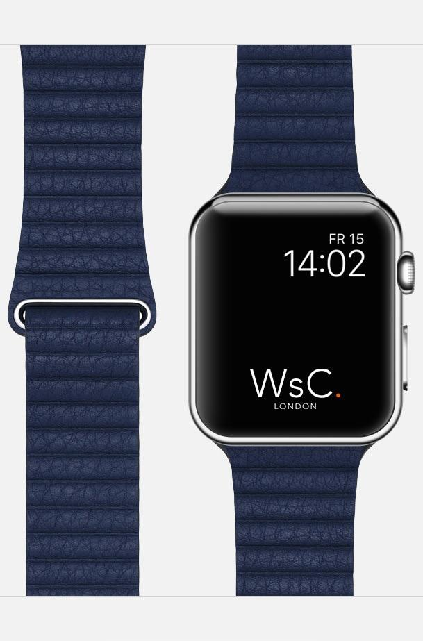 Blue WsC Leather Loop Apple Strap