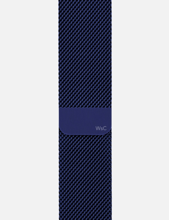 Blue WsC Mesh Loop Apple Watch Strap Without Face SM Logo