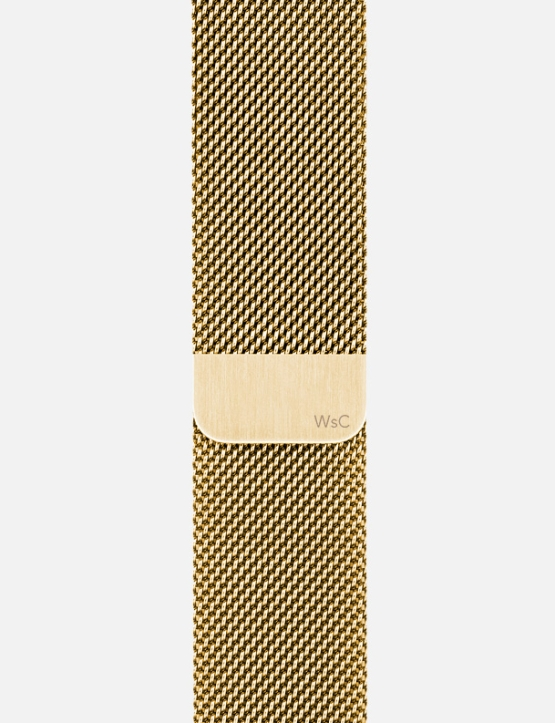 Gold WsC Mesh Loop Apple Watch Straps Without Face SM Logo