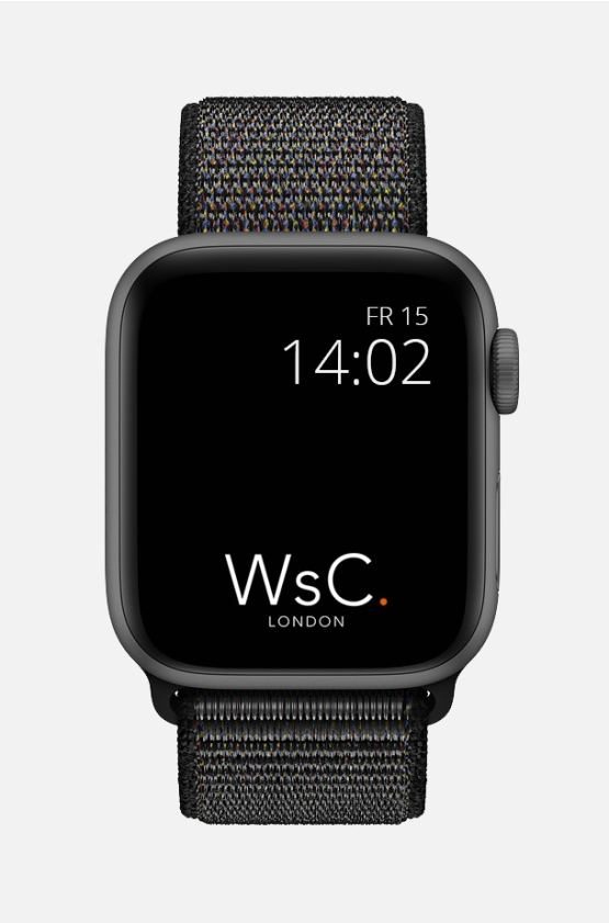 Nylon Velcro Sport Loop Apple Watch Strap Black Front