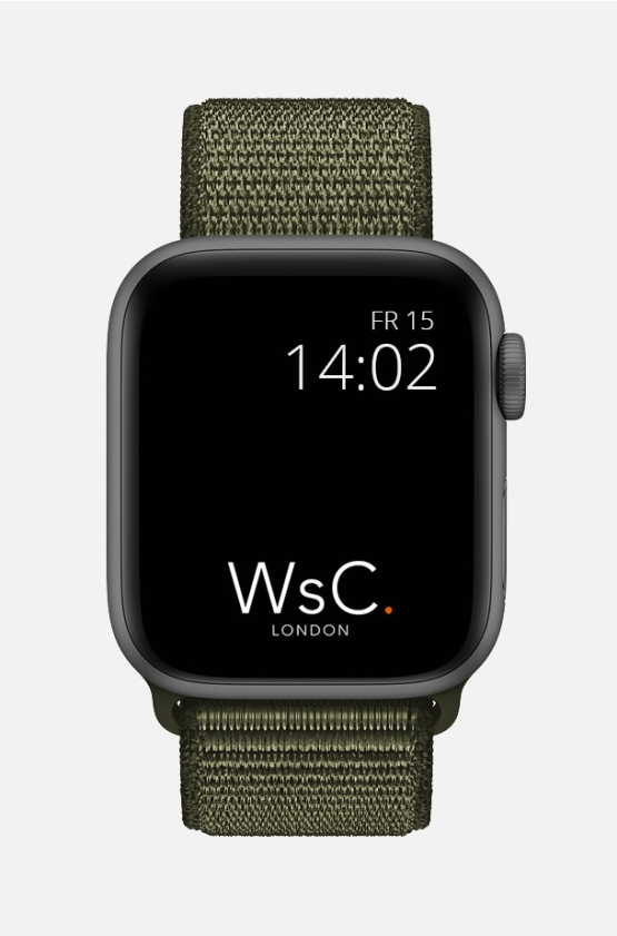 Nylon Velcro Sport Loop Apple Watch Strap Khaki Green Front