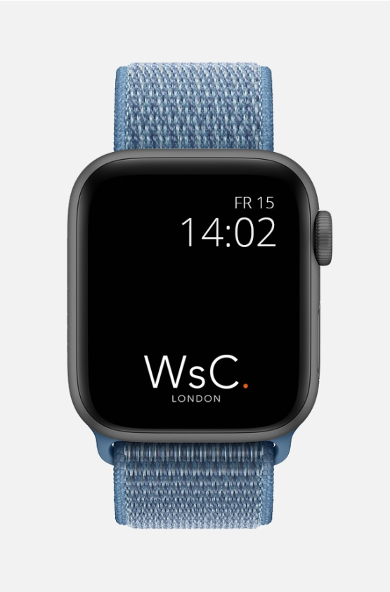 Nylon Velcro Sport Loop Apple Watch Strap Pacific Blue Front
