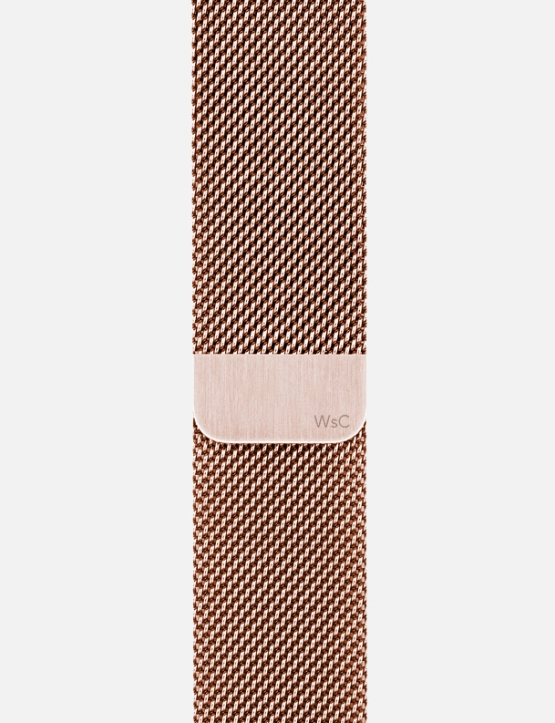 Rose Gold WsC Mesh Loop Apple Watch Straps Without Face SM Logo