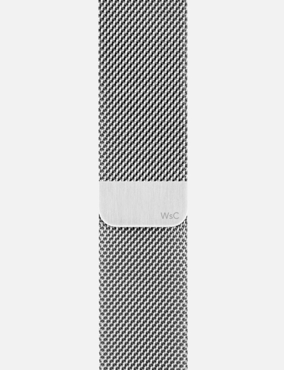 Silver WsC Mesh Loop Apple Watch Strap Without Face SM Logo Small