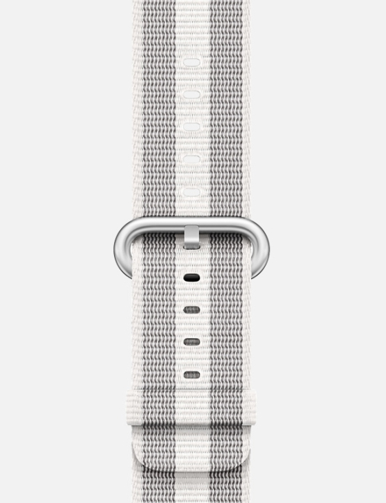 White Grey Stripe Woven Nylon Apple Watch Strap