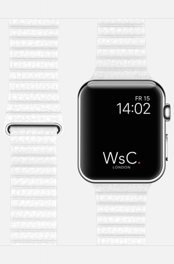 White WsC Leather Loop Apple Strap