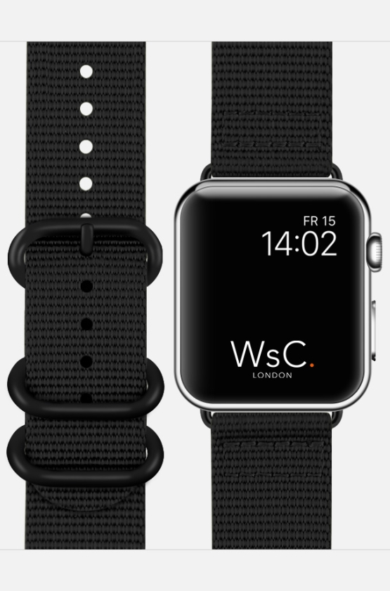 WsC NATO Apple Watch Strap Black Face