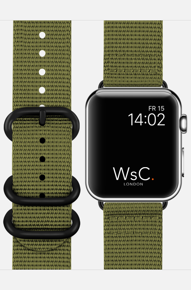 WsC NATO Apple Watch Strap Khaki Green Face