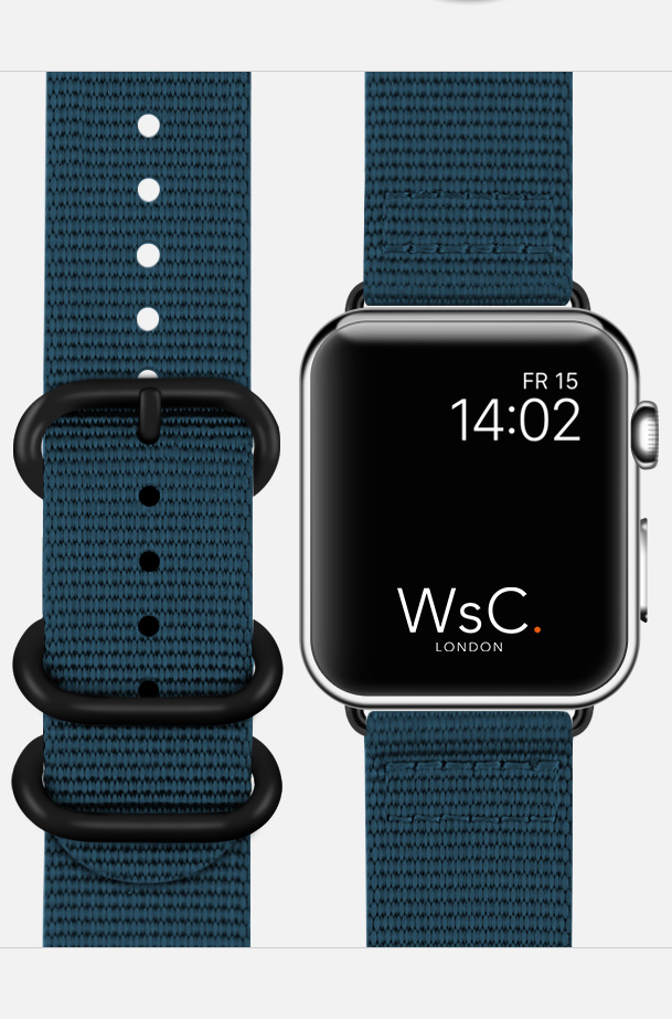 WsC NATO Apple Watch Strap Ocean Blue Face