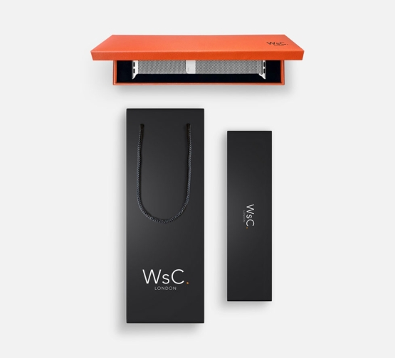 WSC Mesh Loop Apple Watch Strap Silver Box and Bag