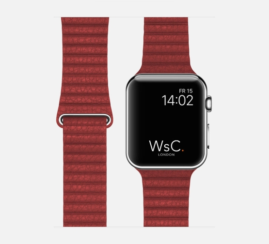 WsC Leather Loop Strap Red