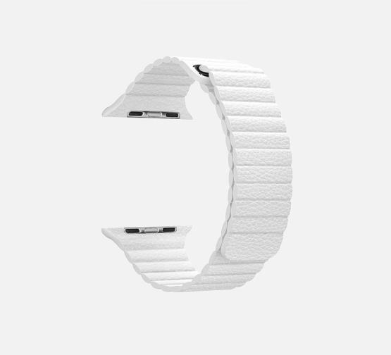 WsC Leather Loop Strap White Round